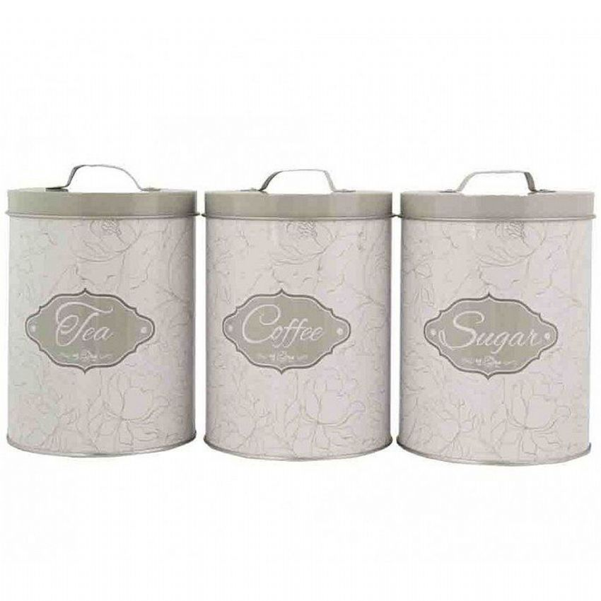 Taupe Floral Design Tea Coffee & Sugar Tins